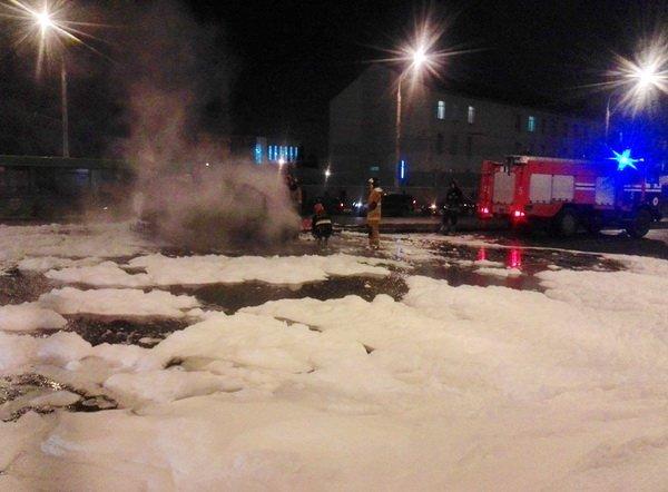 Затор на Маяковке – загорелся автомобиль