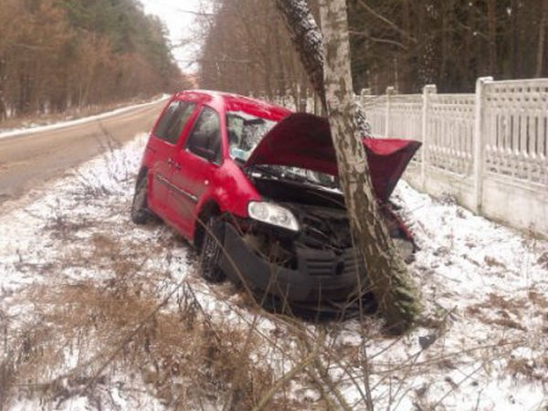 Авария в Минске на улице Парниковой: VW Caddy «встретился» с березой